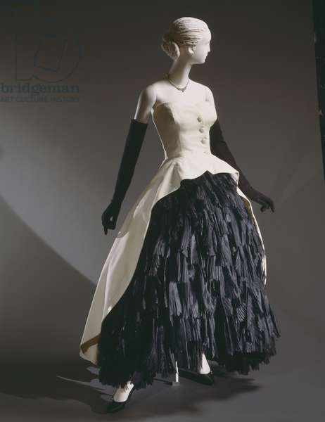 Woman's Evening Ensemble: Dress, Overdress, Bustle, and Petticoat, Spring 1951 (black silk organza, white cotton piqué & black silk)