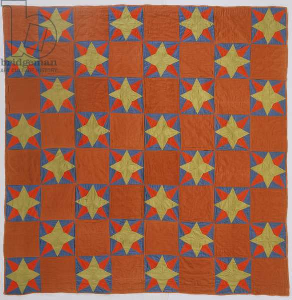 Eight-pointed star quilt, c.1875 (cotton)