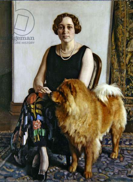 Portrait of Mrs Dorothy May Hoover with her Chow Chow, 1927 (oil on canvas)