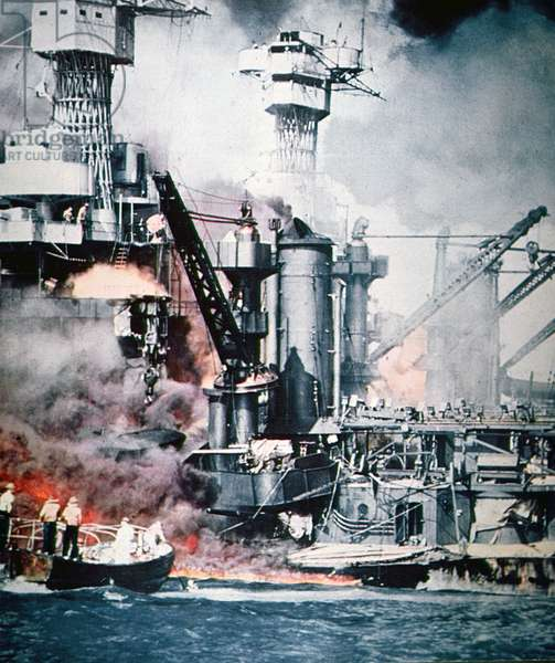 USS West Virginia and USS Tennessee on fire during the Japanese attack on Pearl Harbor, 7th December, 1941 (photo)