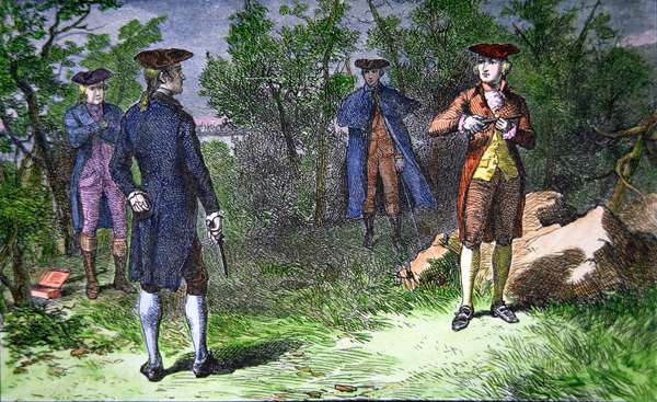 The Burr-Hamilton Duel, 1804 (coloured engraving)