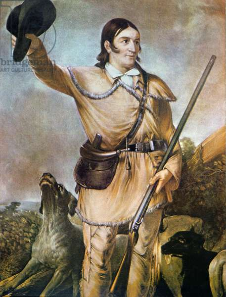 David (Davy) Crockett (1786-1836) with his hunting dogs in 1836 (colour litho)