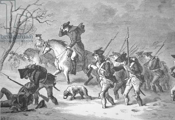 The ragged and defeated Continental Army marching to the encampment at Valley Forge, winter of 1777-78 (litho)