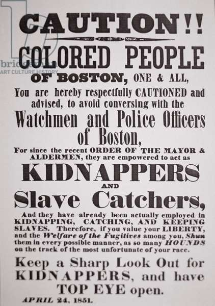 Anti-slavery poster, by the Reverend Theodore Parker (1810-60) 1851 (litho)