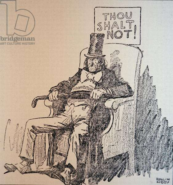 'Thou Shalt Not', cartoon condemning the consumption of alcohol during the American Prohibition era (1920-33) (litho)