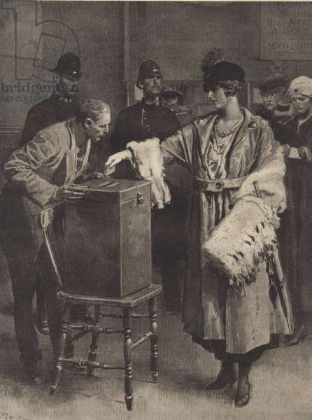 Woman votes for first time in general election of 1918 (litho)
