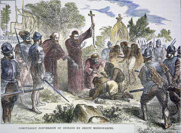 Compulsory conversion of Native Americans to christianity by Spanish Jesuit missionaries in the 16th century (colour litho)