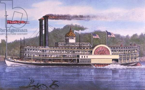 On the Mississippi, 1869 (colour litho)