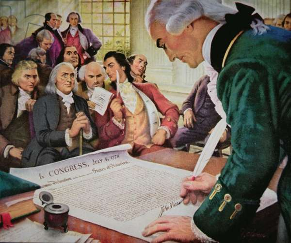 John Hancock (1737-93) signs the American Declaration of Independence, 4th July 1776 (colour litho)