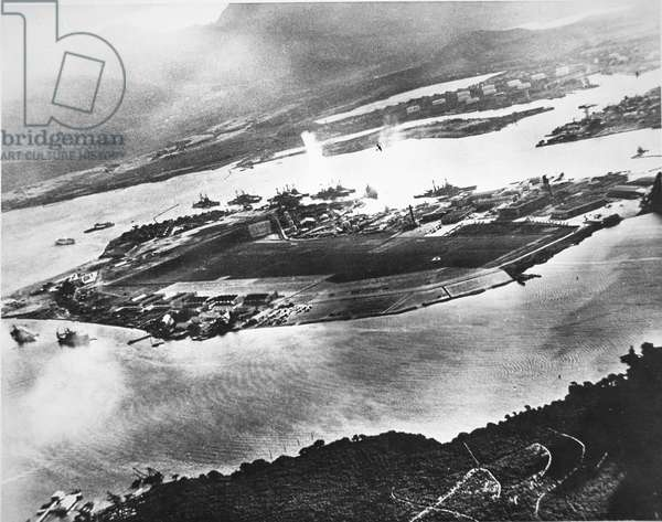 Aerial view of Ford Island and Battleship Row, Pearl Harbor, 7th December 1941 (b/w photo)