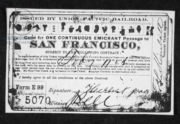 Cheap emigrant railroad ticket, c.1870 (litho)