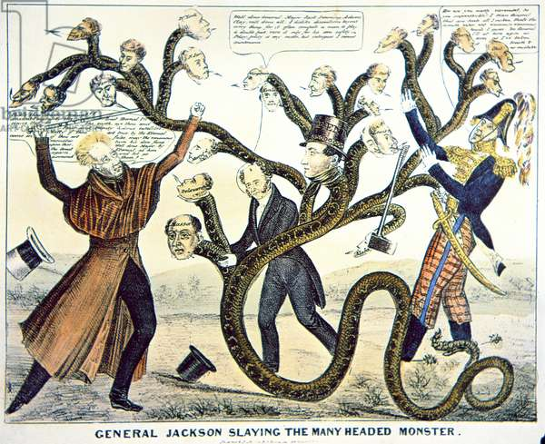'Jackson slaying the many headed monster', 1828 (colour litho)