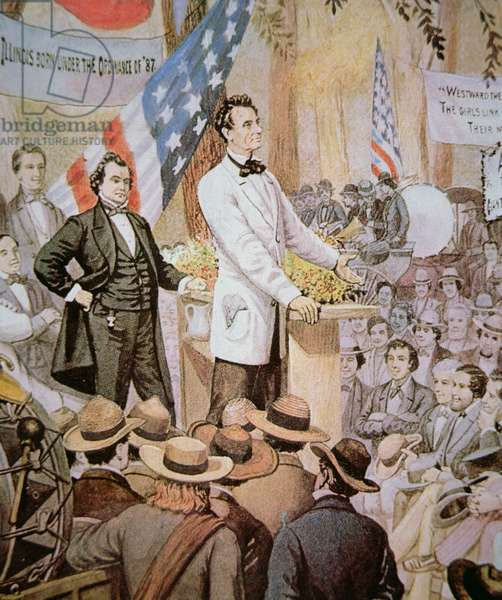 Abraham Lincoln (1809-65) in public debate with Stephen A. Douglas (1813-61) in Illinois, 1858 (colour litho)