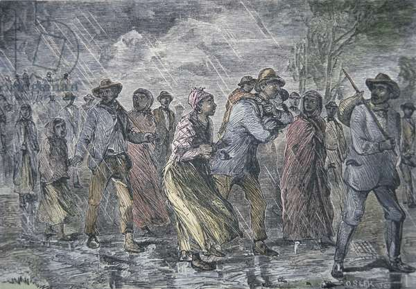 Fugitive slaves fleeing from the Maryland coast to an Underground Railroad depot in Delaware, 1850 (coloured engraving)