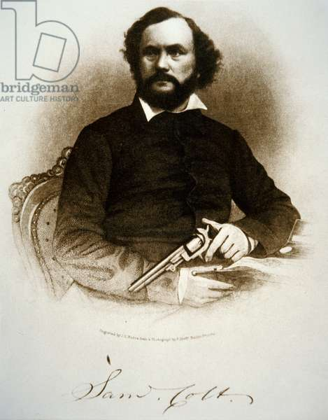 Samuel Colt holding one of his percussion revolvers (engraving)