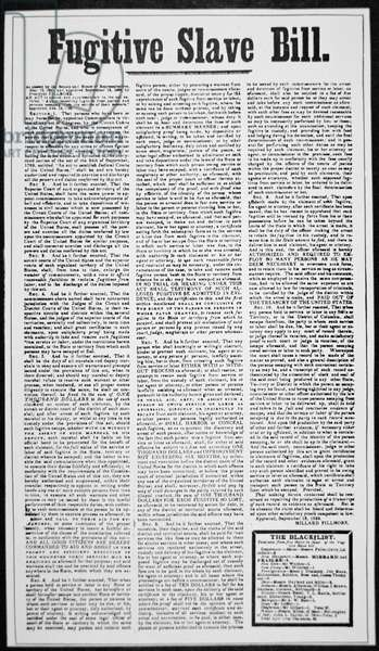 The Fugitive Slave Bill broadside, 1850 (newsprint)