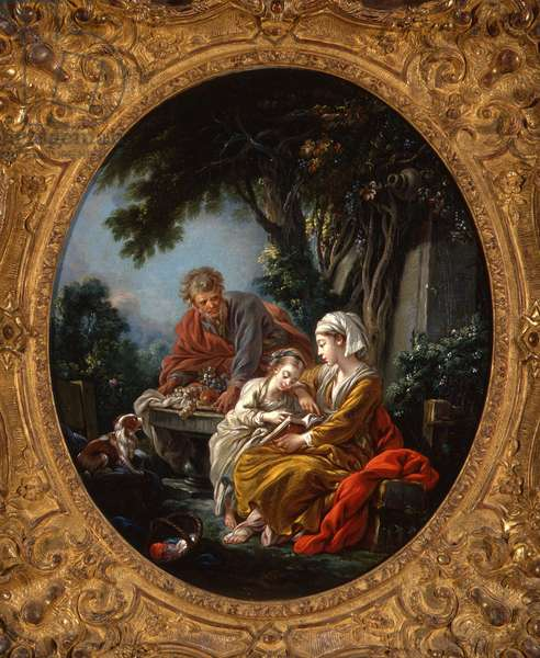 La lecon de lecture (The Reading Lesson), 1765-68 (oil on canvas)