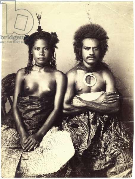 Fijian Man and Woman, c.1885 (albumen print)