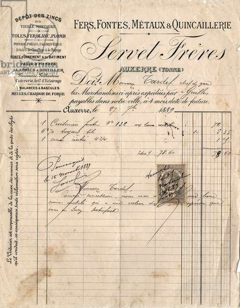 Bill of Servet brothers company in Auxerre (France), hardware shop, july 27, 1889