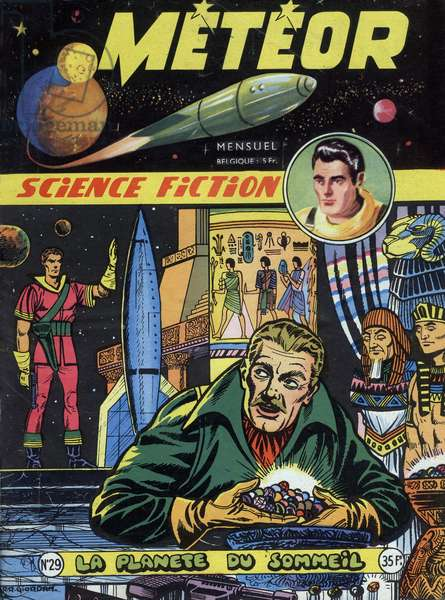 Cover of french magazine Meteor (october 1955) with science fiction cartoons