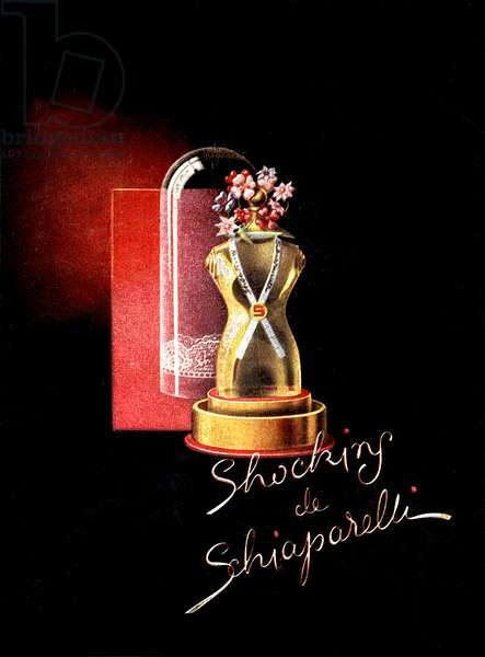 Advert for the perfume 'Shocking by Schiaparelli', 1943 (colour litho)