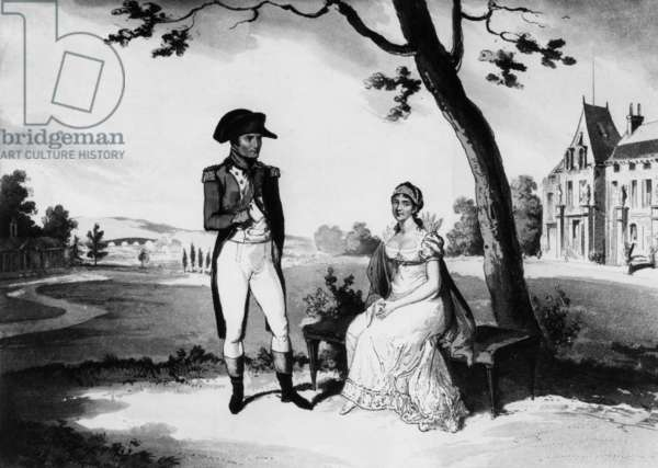Napoleon Bonaparte and his wife Josephine de Beauharnais in garden of la Malmaison, english engraving