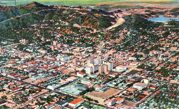 Hollywood, California, North Hollywood and San Fernando in distance, Postcard, 50's
