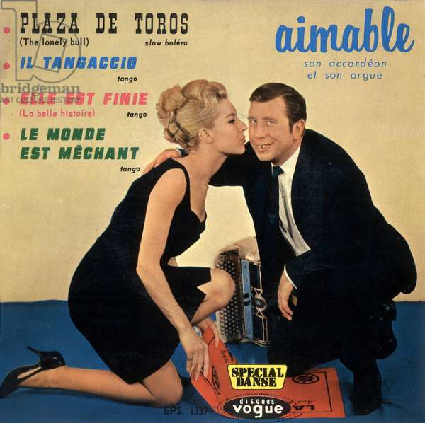 Extended play vinyl record sleeve of Aimable(french accordion-player) 1963, France