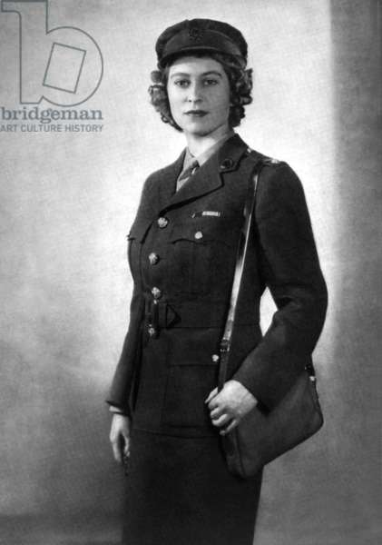 Princess Elizabeth of England (future queen Elizabeth II) young as second subaltern in ATS, 1945
