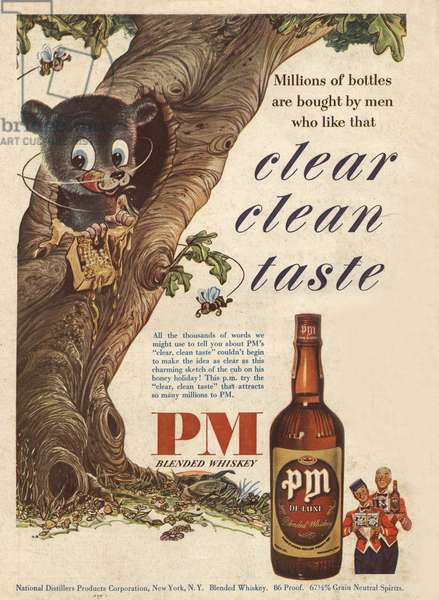 Advertisement for PM Blended Whisky 1950