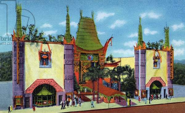 The Grauman's Chinese theatre in Hollywood (California), Postcard, 50's