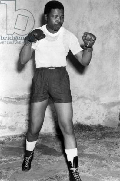 Nelson Mandela, activist against Apartheid, here when boxer in his youth in the early 50's