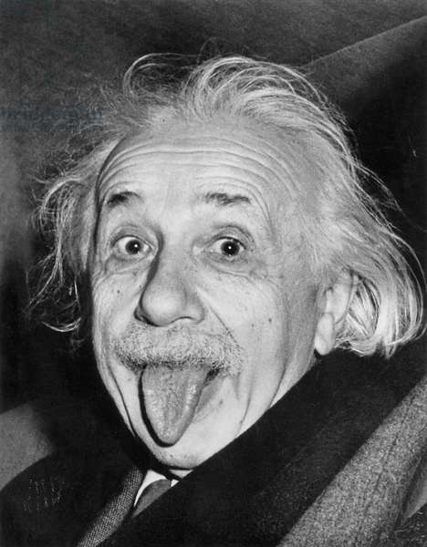 Albert Einstein sticking his tongue out, 14th March 1951 (b/w photo)
