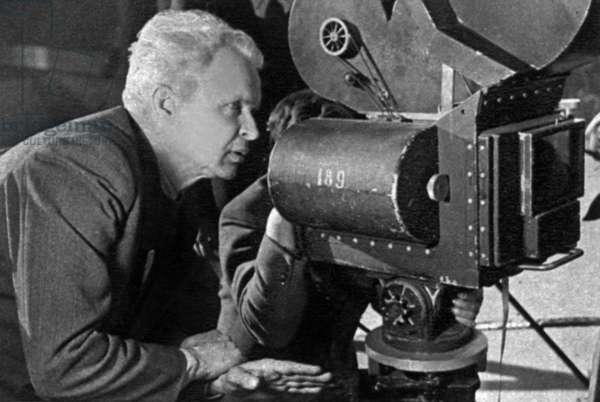 Director Alexandre Dovjenko on set of film Poem of the Sea 1948
