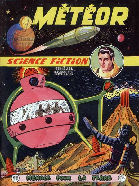 Cover of french magazine Meteor (december 1955) with science fiction cartoons