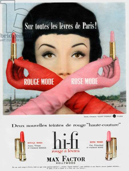French advertisement for Hi-Fi Max Factor Hollywood lipsticks, 1958