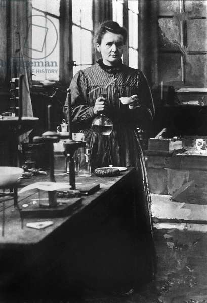 french physicist Marie Curie (1867-1934) Nobel prize of Physics in1903, and Nobel prize of Chemistry in1911, here in her 1st laboratory in Paris in 1898