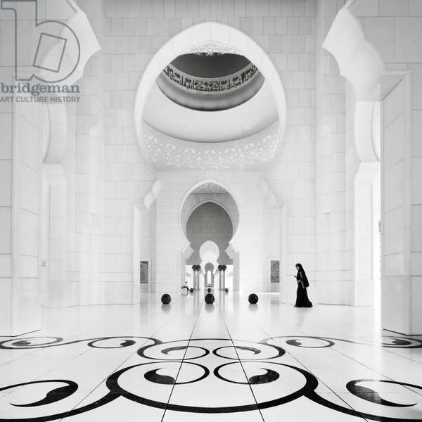Sheikh Zayed Mosque 3, Abu Dhabi, United Arab Emirates, 2011 (b/w photo)