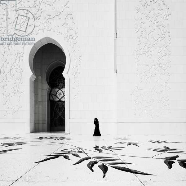 Sheikh Zayed Mosque, Abu Dhabi, United Arab Emirates, 2011 (b/w photo)