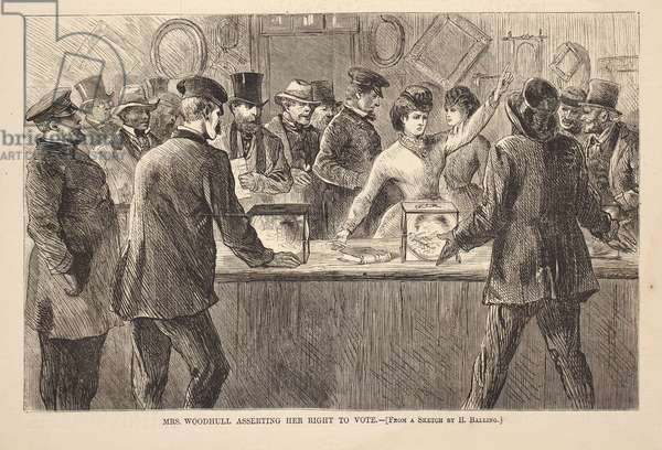 Mrs. Woodhull Asserting Her Right to Vote, engraving from Harper's Weekly, November 25, 1871 (newspaper engraving)