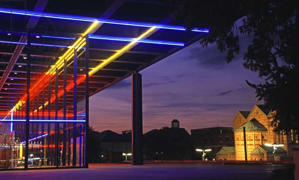 View of the Museum showing the light installation of Keith Sonnier and St. Matthaus Church, Neue Nationalgalerie (photo)