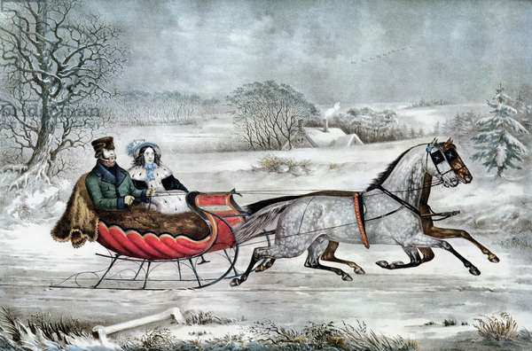 The Road - Winter (Currier and his 2nd wife, Laura Ormsbee, 1843) (litho)
