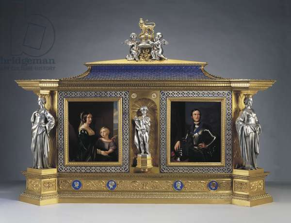 Queen Victoria's Jewel Cabinet, 1851 (oak, electro-formed and silver-plated white metal, enamelled copper, porcelain)