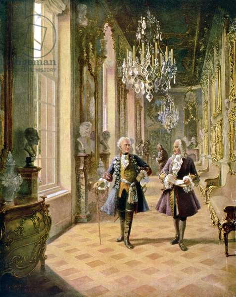 Frederick II The Great of Prussia (1712-86) and Francois Voltaire (1694-1778) at Sans-Souci, after a painting by Georg Schobel (b.1860) (litho)