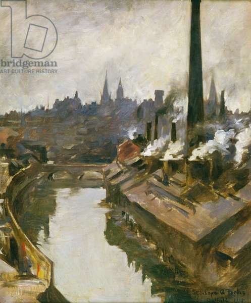 Sheffield: River and Smoking Chimneys, 1915 (oil on canvas)