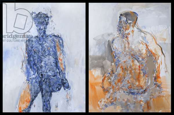 Diptych of Duncan Hume dancing aged 38, 2011 (oil on canvas)