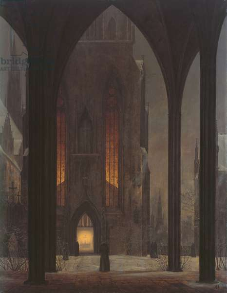 Cathedral in Winter, 1821 (oil on board)