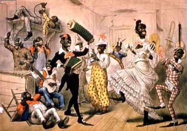 Musical scene in the American South (colour litho)