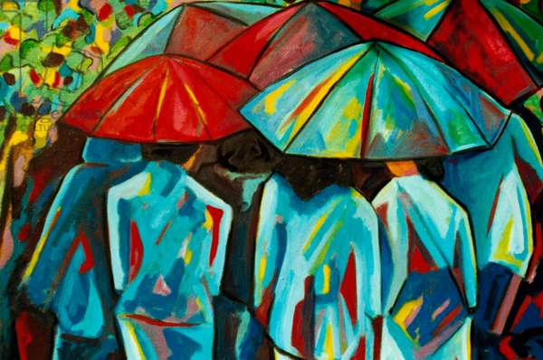Umbrellas 2001 Hyacinth Manning (b.1954 African-American) Acrylic on Canvas