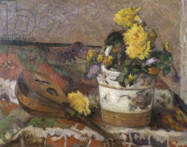 Mandolin and Vase of Flowers, 1883 (oil on canvas)